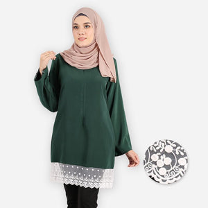 Lateenah Premium Blouse (dark green) - HannahSG