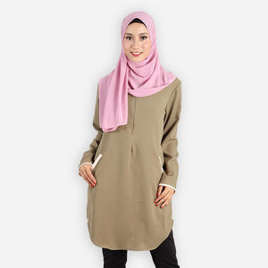 Raziyah Curvy Pocket Blouse (green) - HannahSG