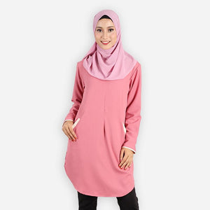 Raziyah Curvy Pocket Blouse (rose) - HannahSG