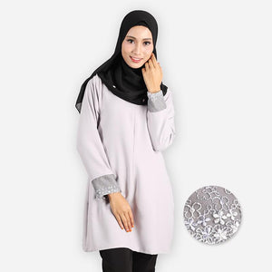 Mishaali Premium Blouse (light grey) - HannahSG