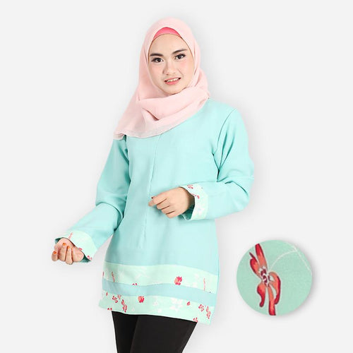 Rafeeqah Curve Design Blouse (mint green)