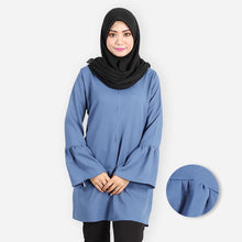 Load image into Gallery viewer, Khalila Ruffled Curvy Premium Blouse (blue) - HannahSG