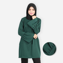 Load image into Gallery viewer, Khalila Ruffled Premium Blouse (dark green) - HannahSG