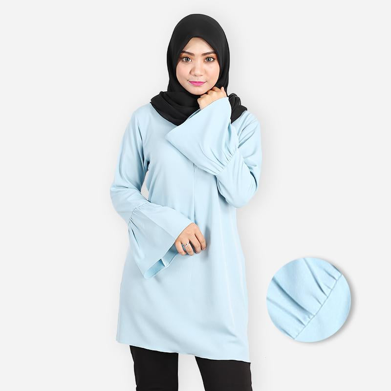 Khalila Ruffled Premium Blouse (light blue) - HannahSG