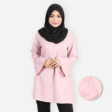 Load image into Gallery viewer, Khalila Ruffled Curvy Premium Blouse (pink) - HannahSG