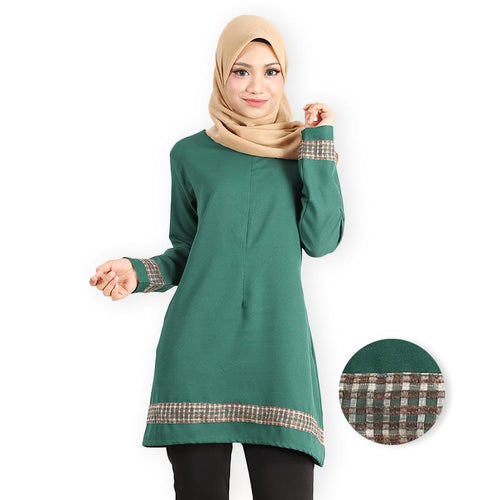 Afana Curvy Premium Long Blouse (dark green) - HannahSG
