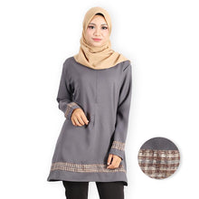 Load image into Gallery viewer, Afana Curvy Premium Long Blouse (dark grey) - HannahSG
