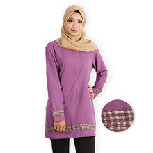 Load image into Gallery viewer, Afana Curvy Premium Long Blouse (dark purple) - HannahSG