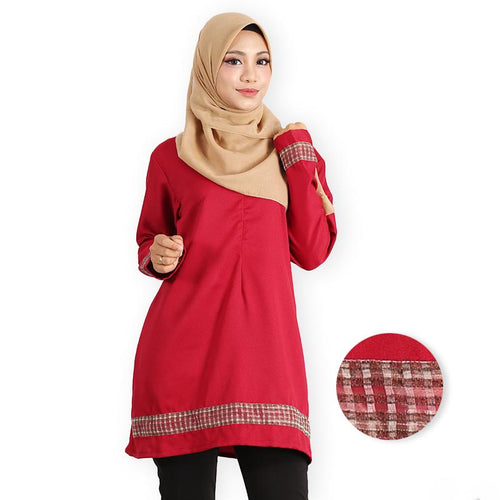 Afana Curvy Premium Long Blouse (dark red) - HannahSG