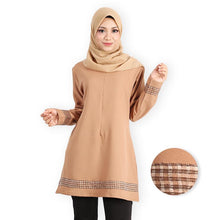Load image into Gallery viewer, Afana Premium Long Blouse (khaki) - HannahSG