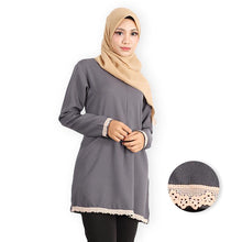Load image into Gallery viewer, Aasimah Curvy Premium Long Blouse (dark grey) - HannahSG