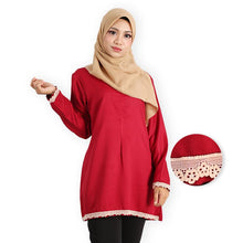 Load image into Gallery viewer, Aasimah Curvy Premium Long Blouse (dark red) - HannahSG