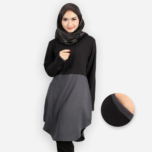 Abella Curvy Two Tone Long Blouse (black)
