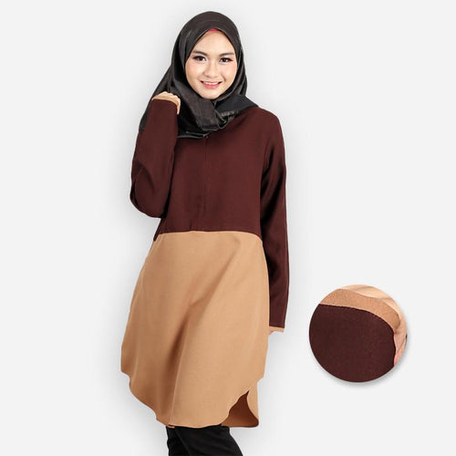 Abella Curvy Two Tone Long Blouse (dark brown)