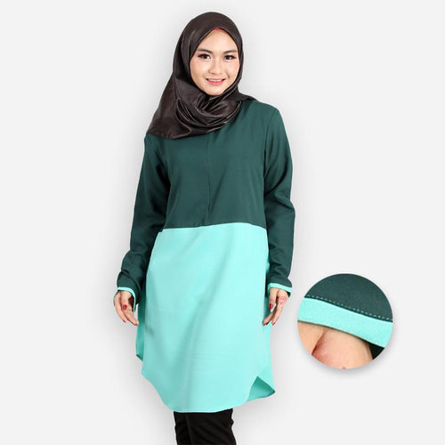 Abella Curvy Two Tone Long Blouse (dark green)