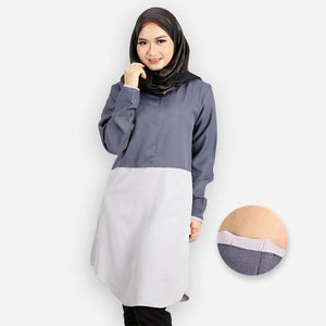 Abella Curvy Two Tone Long Blouse (dark grey)