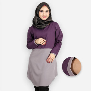 Abella Curvy Two Tone Long Blouse (dark purple)