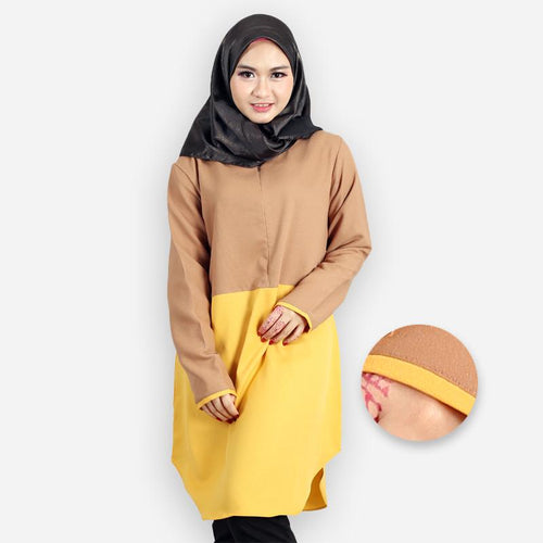 Abella Curvy Two Tone Long Blouse (khaki)