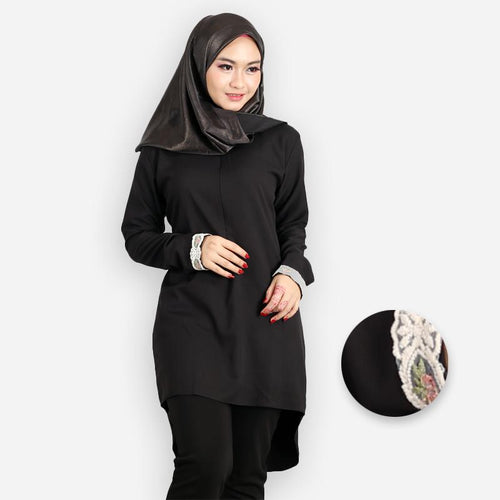 Zanoah Curvy Premium Long Blouse (black)