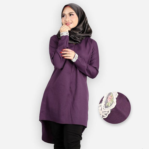 Zanoah Curvy Premium Long Blouse (dark purple)