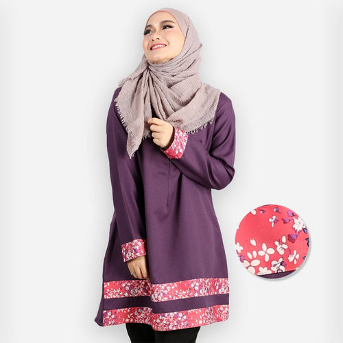 Mahirah Curvy Floral Design Premium Blouse (dark purple)