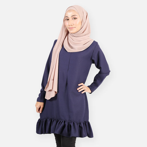 Fasihah Curvy Ruffled Blouse (dark blue)