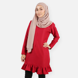 Fasihah Curvy Ruffled Blouse (dark red)