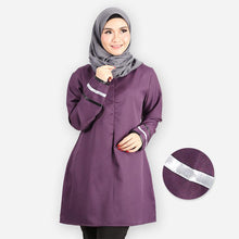 Load image into Gallery viewer, Durriyah Curvy Long Blouse (dark purple)