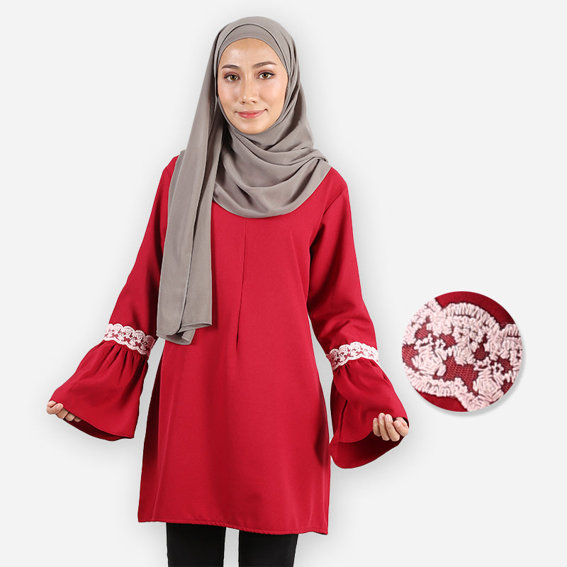 Huda Saloma Long Blouse (dark red)