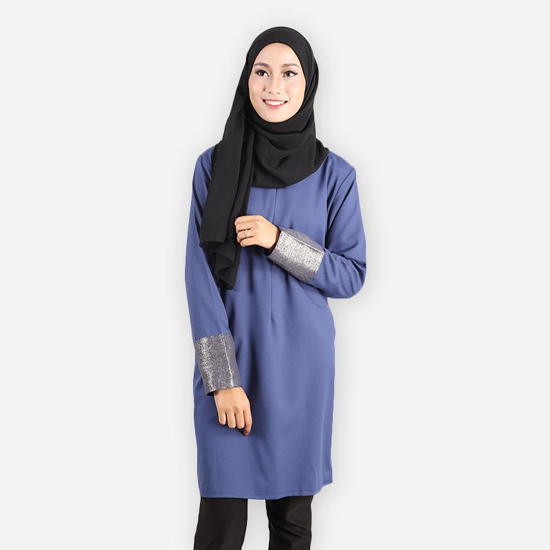 Sharifah Curvy Premium Blouse (dark blue)