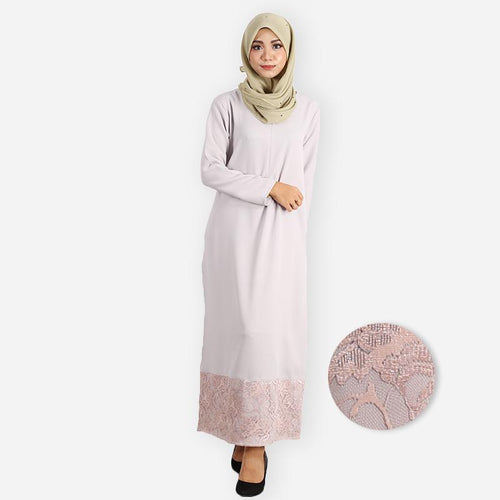 Layla Premium Jubah (light grey)