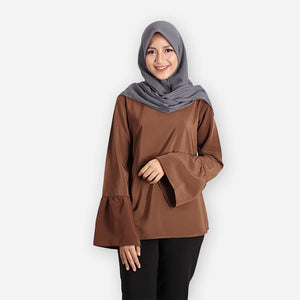 Dafiya Basic Blouse (dark brown) - HannahSG