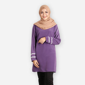 Tasmia Curvy Long Blouse (dark purple) - HannahSG