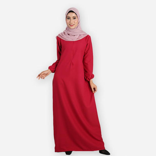 Raahima Premium Jubah (dark red)