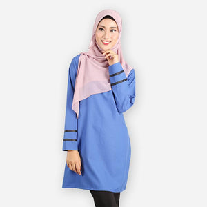 Alleyah Long Blouse (blue) - HannahSG