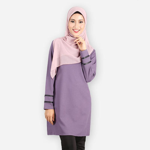 Alleyah Long Blouse (dark purple) - HannahSG