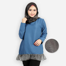 Load image into Gallery viewer, Adiya Curvy Ruffled Blouse (blue)