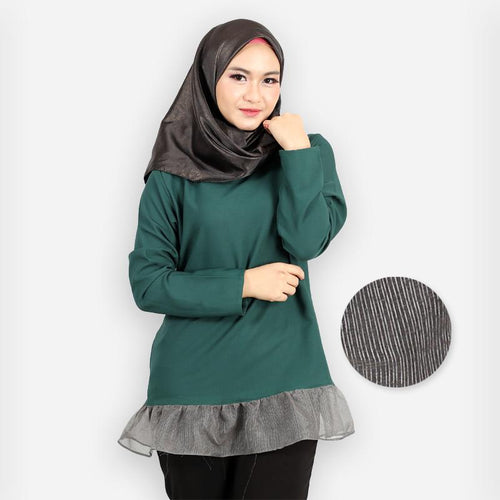 Adiya Ruffled Blouse (dark green)
