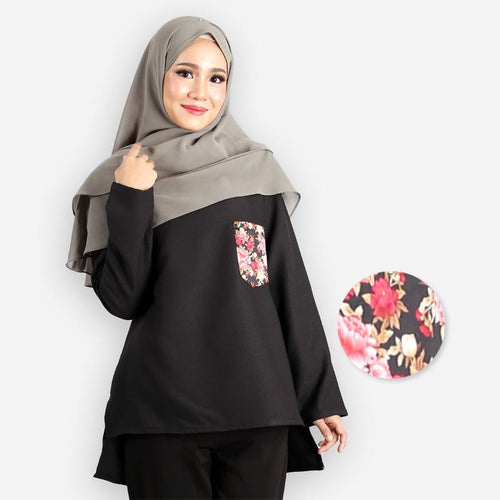 Kashifah Pocket Blouse (black)