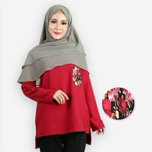Kashifah Pocket Blouse (dark red)