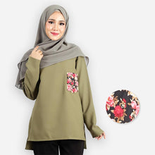 Load image into Gallery viewer, Kashifah Curvy Pocket Blouse (green)