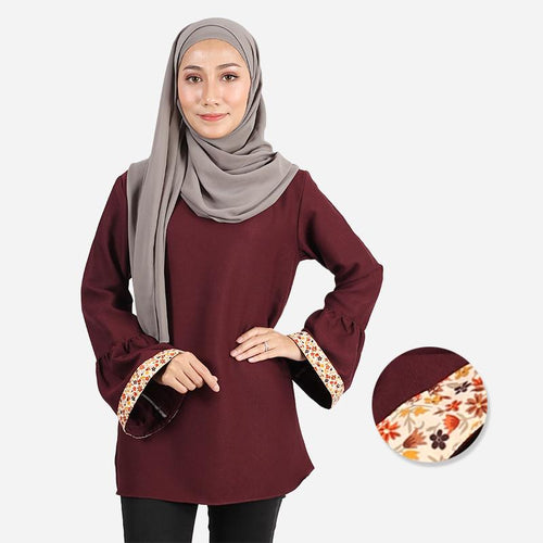 Badeela Floral Pocket Blouse (dark brown)