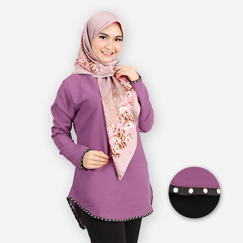 Damia Curvy Polka Blouse (dark purple)