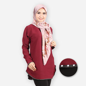Damia Polka Blouse (dark red)