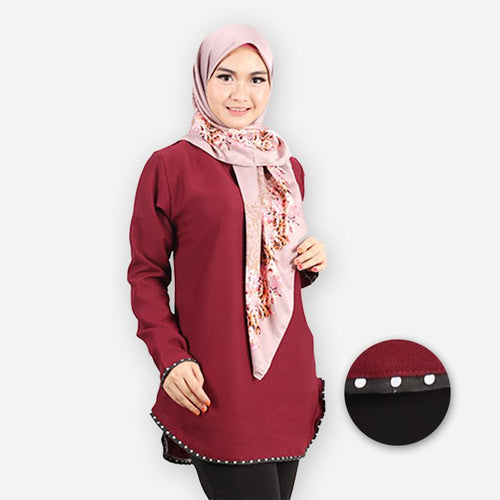 Damia Curvy Polka Blouse (dark red)