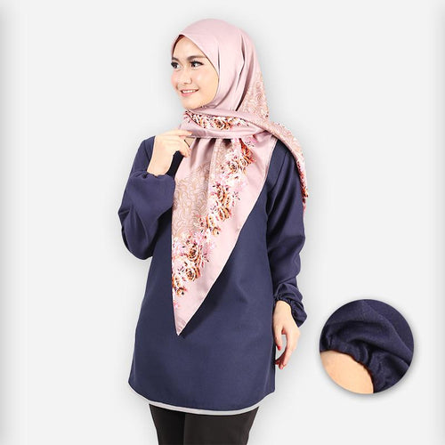 Delima Curvy Basic Blouse (dark blue)