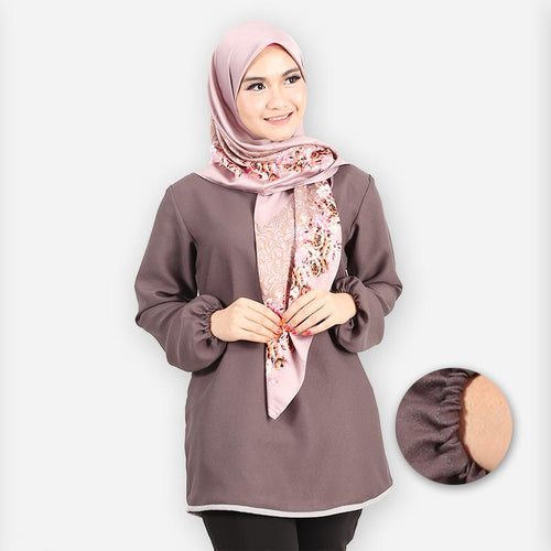 Delima Curvy Basic Blouse (dark grey)