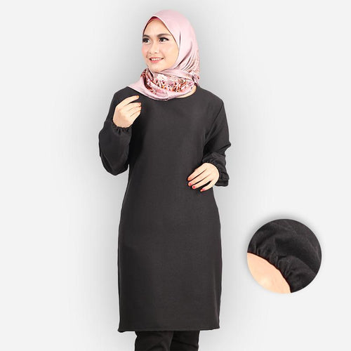 Riyana Curvy Basic Long Blouse (black)