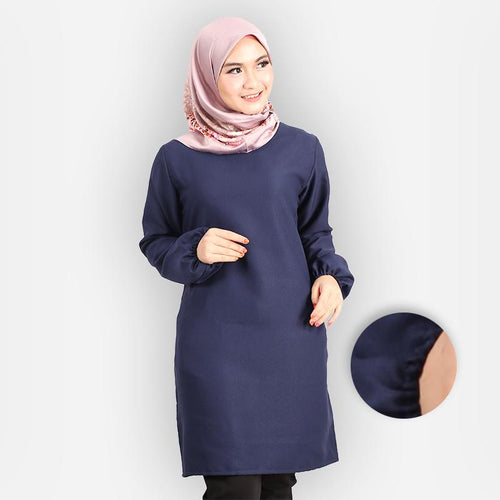 Riyana Curvy Basic Long Blouse (dark blue)