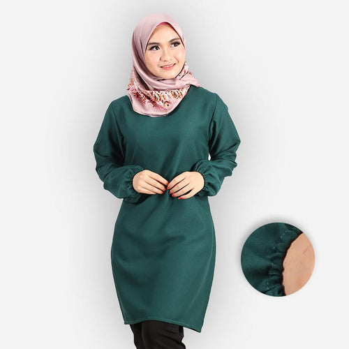 Riyana Curvy Basic Long Blouse (dark green)